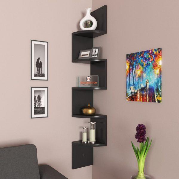 Black corner wall mounted shelf