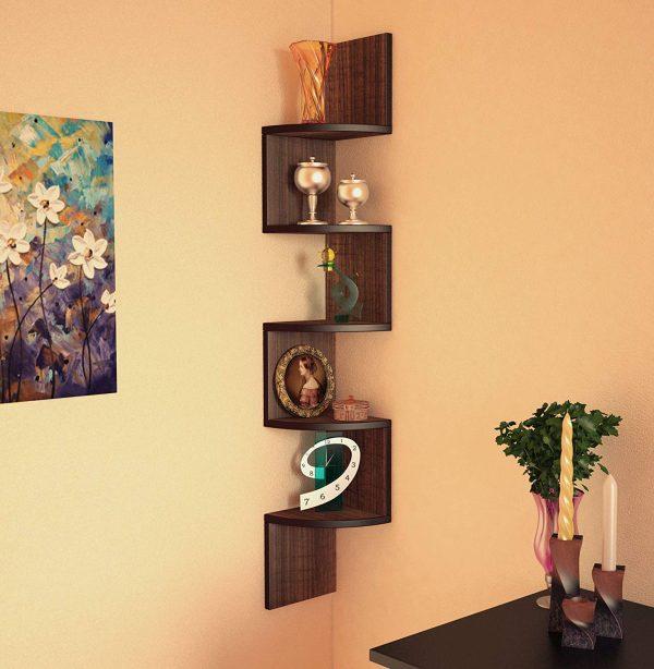 Egyptian Walnut corner wall mounted shelf