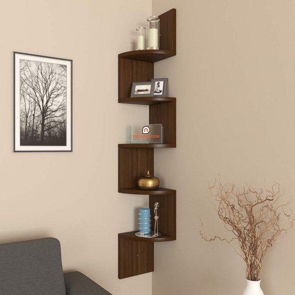 Rich Walnut corner wall mounted shelf