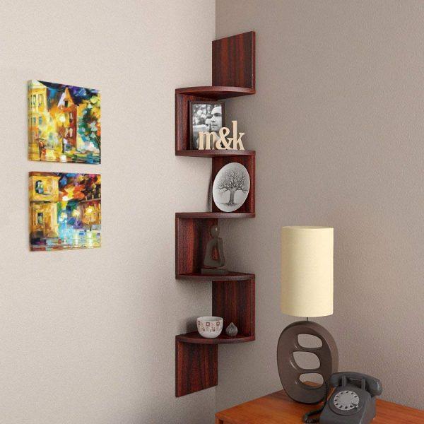 Rio Rosewood corner wall mounted shelf