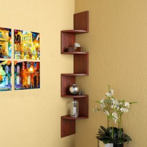 Rusty Cedar corner wall mounted shelf