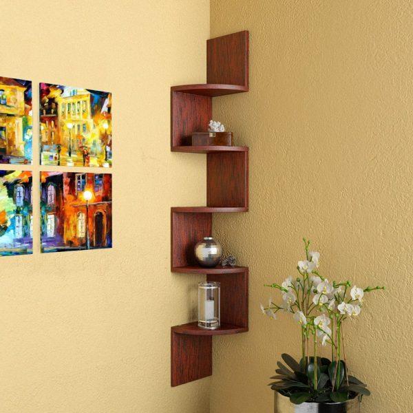 Rusty Cedar corner wall mounted shelf