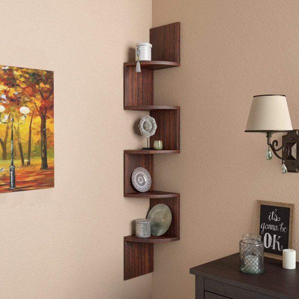 Tectona Teak corner wall mounted shelf