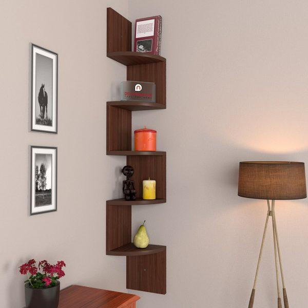 Walnut corner wall mounted shelf