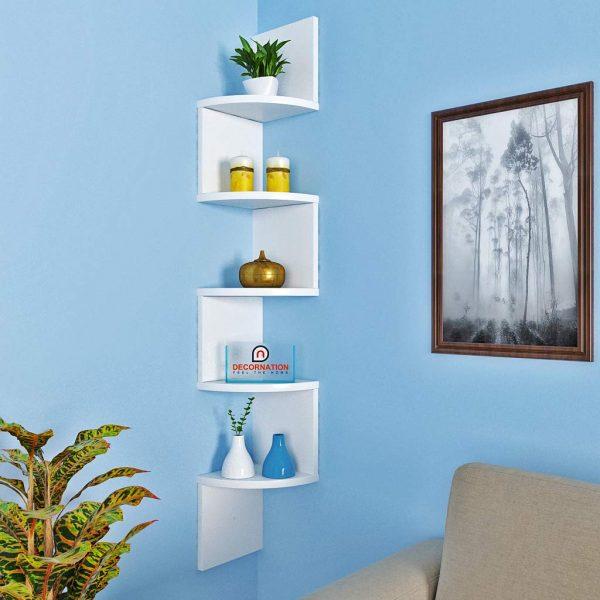 White corner wall mounted shelf